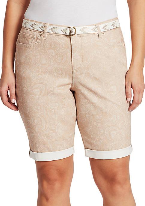 Bandolino Plus Size Riley Printed Bermuda Shorts