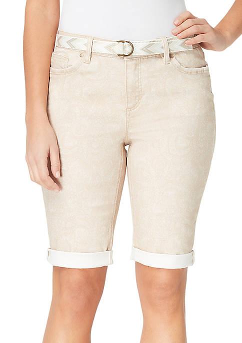 Petite Riley Paisley Bermuda Shorts