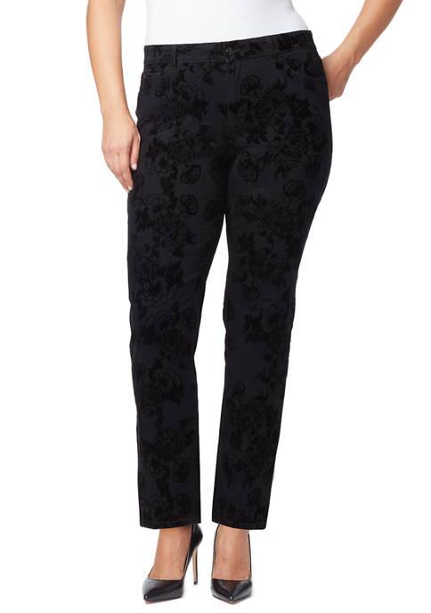 Bandolino Plus Size Mandie Denim Flock Average Jeans