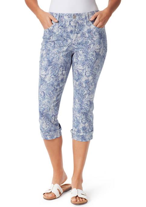 Womens High Rise Printed Capri Pants with Cuffed Hem