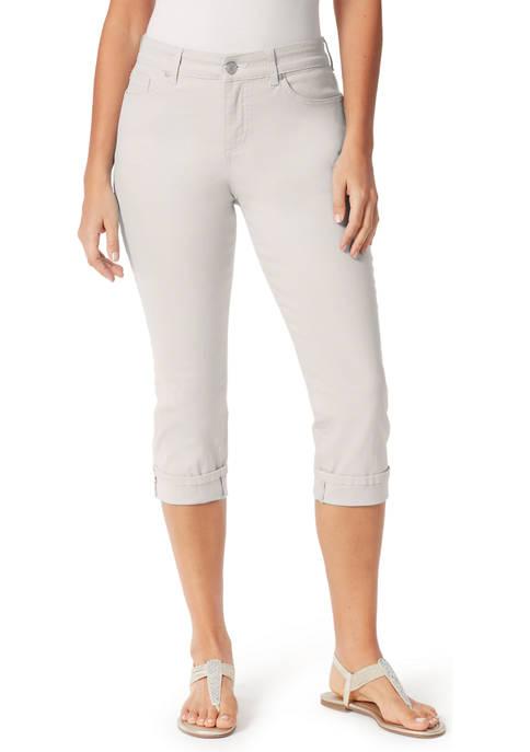 Womens Cuff Twill Capri Pants