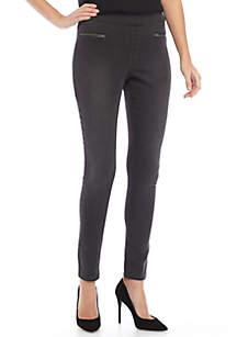 Thea Pull-On Twill Hip-Zip Pants