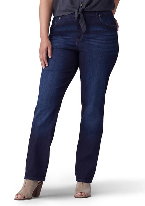 Plus Size Relaxed Fit Straight Leg Stretch Jeans