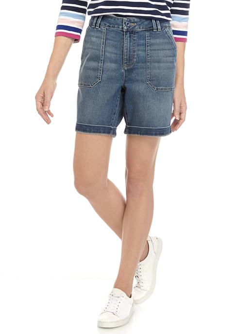Womens Utility Denim Shorts
