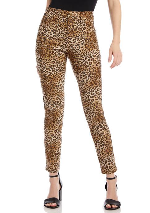 Karen Kane Womens Leopard Print Jeans