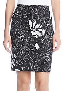 Karen Kane Leaf Print Pencil Skirt