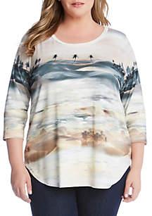 Karen Kane Plus Size Palm Tree Print T Shirt