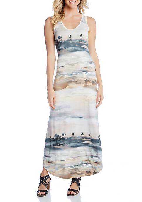 Karen Kane Palm Tree Print Maxi Dress
