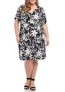 Karen Kane Plus Size Faux Wrap Dress