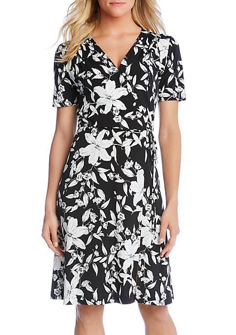 Karen Kane Short Sleeve Faux Wrap Dress