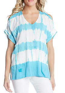 Karen Kane Tie Dye Split Shoulder Top