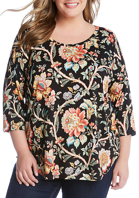 Karen Kane Plus Size 3/4 Sleeve Shirttail Top