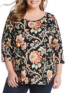 c1619ba2317 ... Karen Kane Plus Size 3 4 Sleeve Shirttail Top