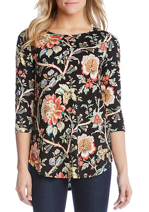 Karen Kane Tapestry Print Shirttail Hem Top