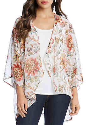 00a7e2c93d4 Karen Kane Drape Front Floral Kimono ...