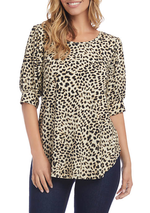 Karen Kane Womens Shirred Sleeve Shirttail Top