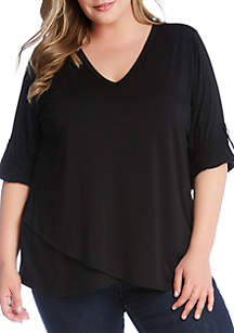 1b73cbe99a4 ... Karen Kane Plus Size 3 4 Roll Tab Sleeve Crossover Top