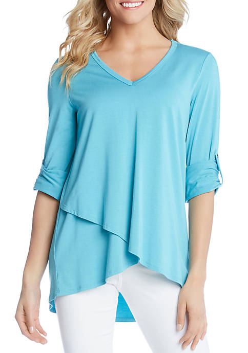 Karen Kane Tab Sleeve Crossover Top