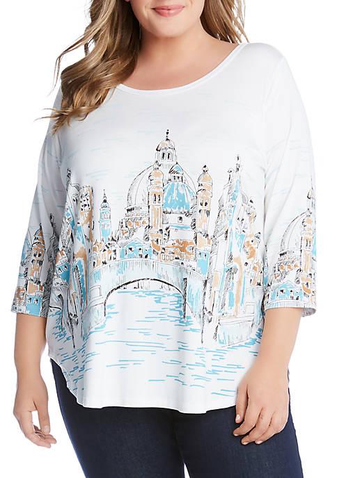 Karen Kane Plus Size Florence River Shirttail Tee