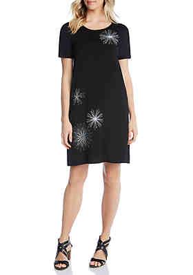 98cc5a4e98d363 Karen Kane Shift Dress with Embroidered Daisies ...