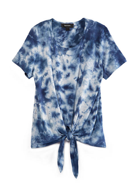 Womens Tie Dye Tie Front Top