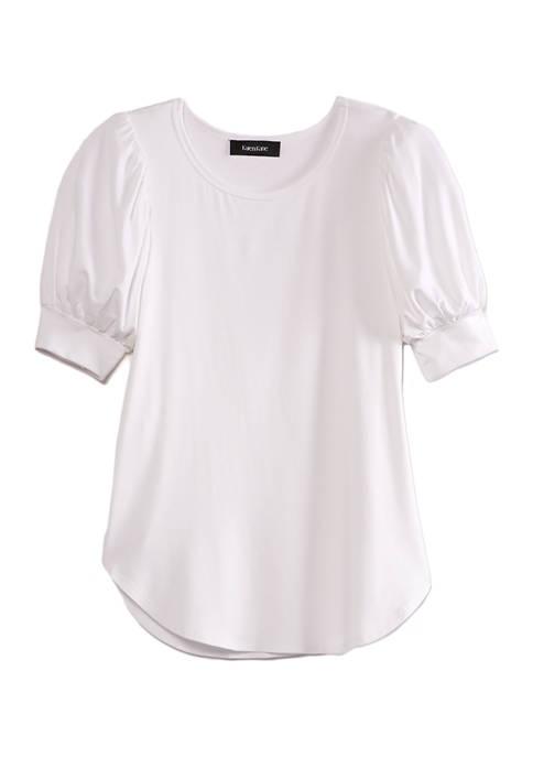 Karen Kane Womens Shirred Sleeve Shirttail Shirt
