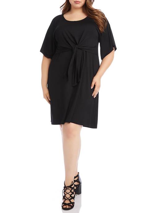 Plus Size Tie Front A Line Dress