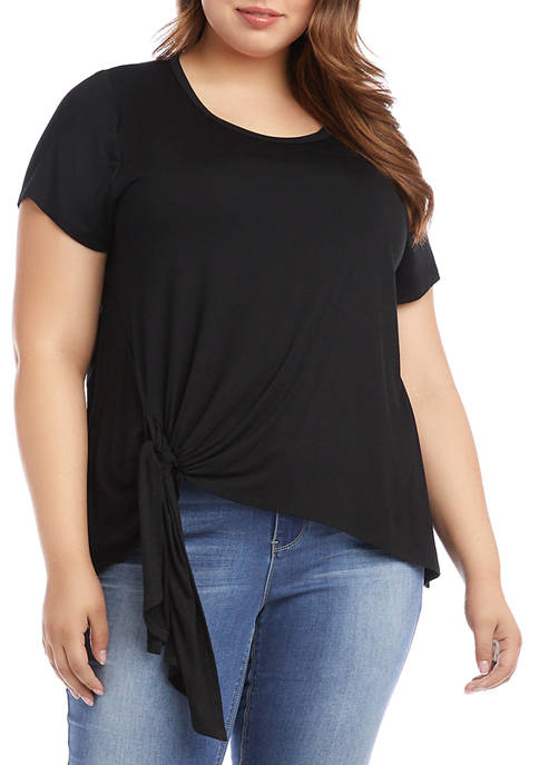 Plus Size Short Sleeve Tie Front Knit Top