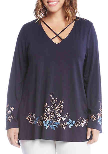 Karen Kane Plus Size Criss-Cross Floral Print Top ...