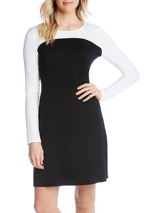 Karen Kane Long Sleeve Colorblock Dress