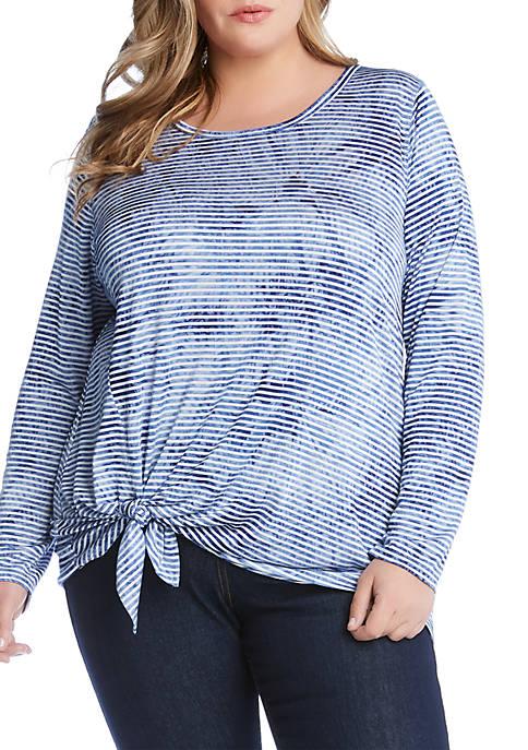 Karen Kane Plus Size Tie Front Stripe Top
