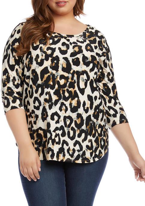 Karen Kane Plus Size 3/4 Sleeve Animal Print