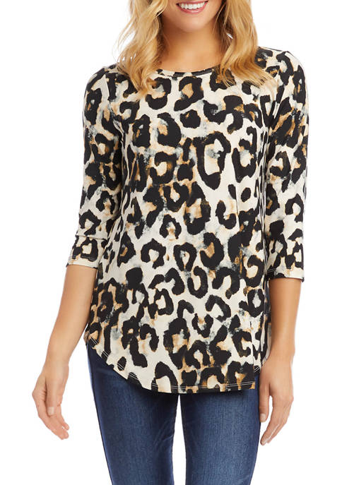 Karen Kane Womens 3/4 Sleeve Shirttail Top