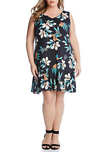 Karen Kane Plus Size Ruffle Hem Dress