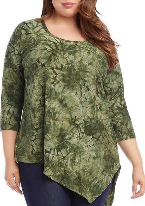 Karen Kane Plus Size Asymmetrical Burnout Top