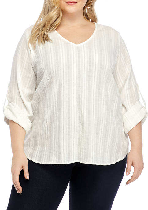 Karen Kane Plus Size Roll Tab Woven Top