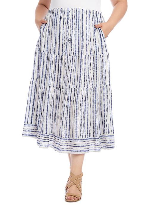 Karen Kane Plus Size Tiered Midi Skirt