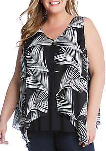 Karen Kane Plus Size Palm Print Overlay Top