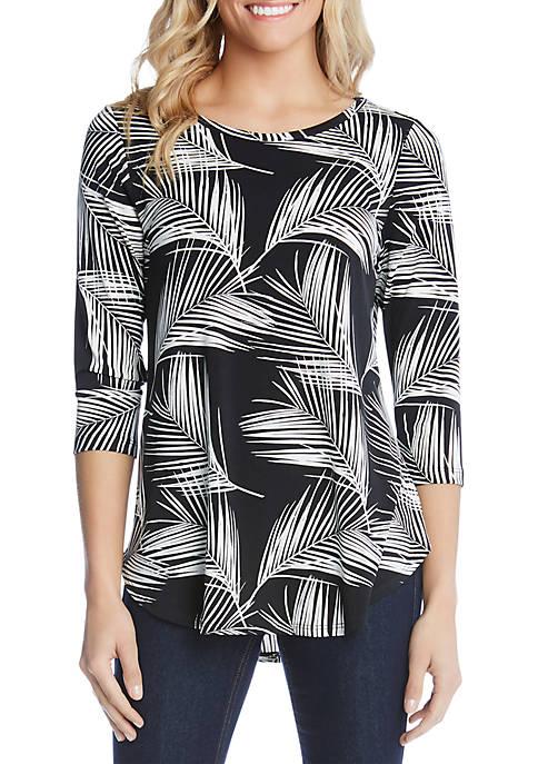 Karen Kane 3/4 Sleeve Palm Tree Print Shirttail