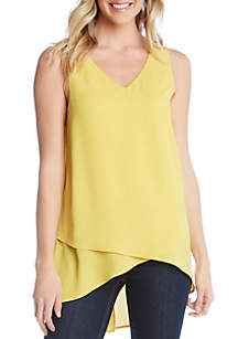 Karen Kane Slit Back Crossover Tank Top