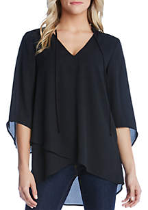 Karen Kane Mandarin Collar Crossover Top