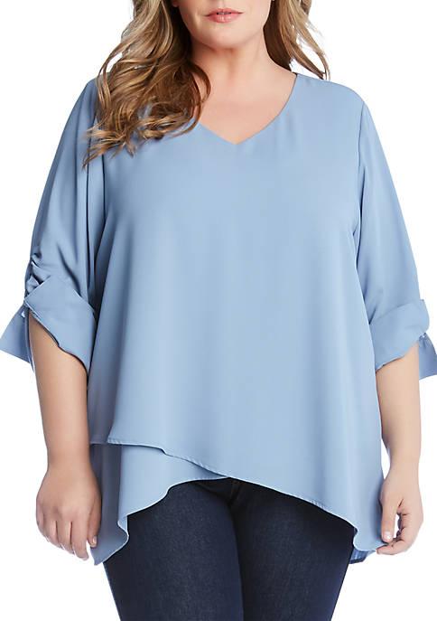 Karen Kane Plus Size Shirred Sleeve Top