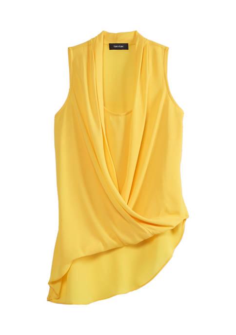 Karen Kane Womens Asymmetric Drape Top