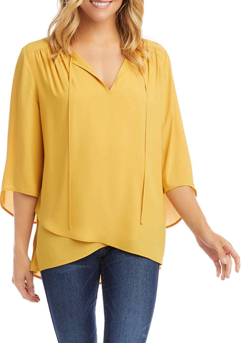 Womens Bracelet Sleeve Crossover Top