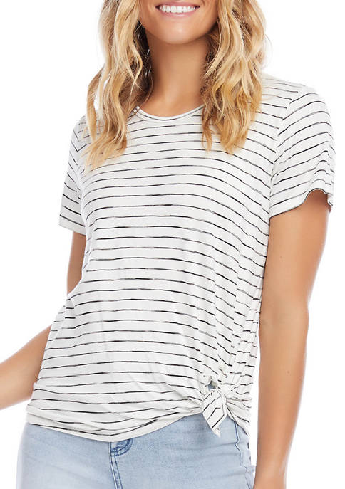 Womens Striped Side Knot Top
