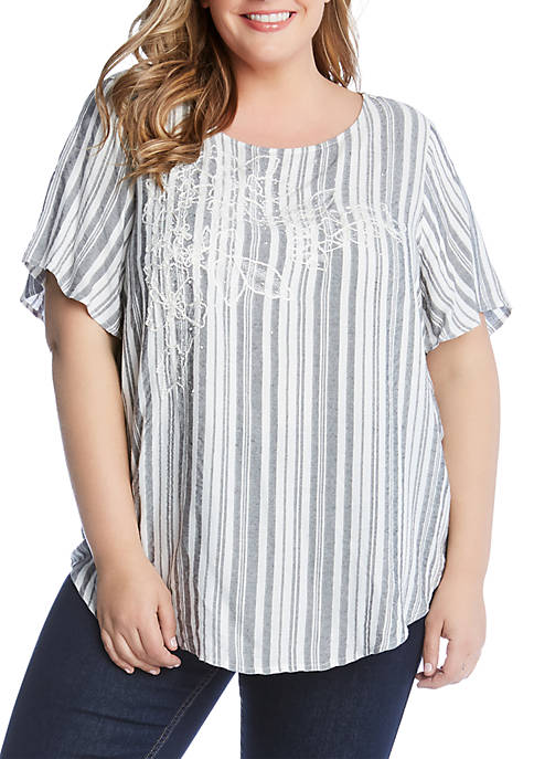 Plus Size Embroidered Stripe Top