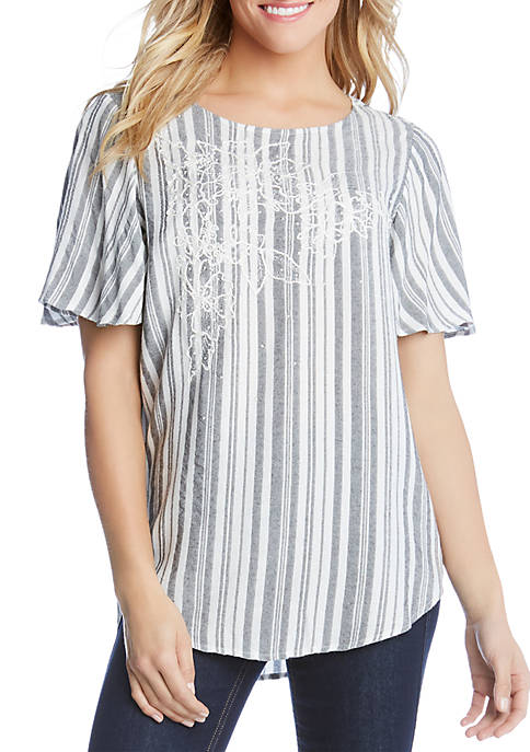 Karen Kane Embroidered Stripe Top