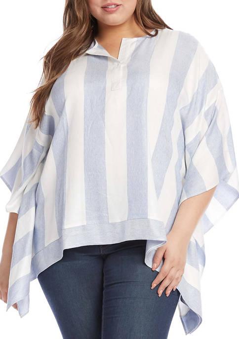Plus Size Stripe Scarf Top