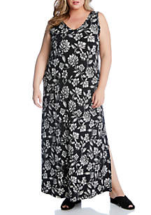 Karen Kane Plus Size V Neck Maxi Dress