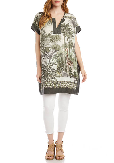 Womens Safari Print Tunic Dress